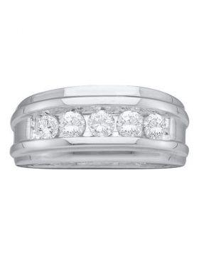 14k White Gold Round Diamond Unisex Channel-set Classic 7mm Wedding Band 1/4 Cttw