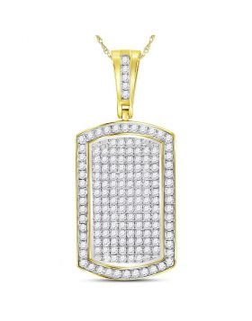 10kt Yellow Gold Unisex Round Diamond Dog Tag Charm Pendant 2.00 Cttw