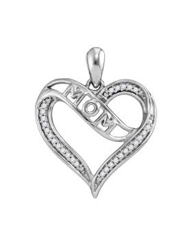 Sterling Silver Womens Round Diamond Mom Mother Heart Pendant 1/8 Cttw