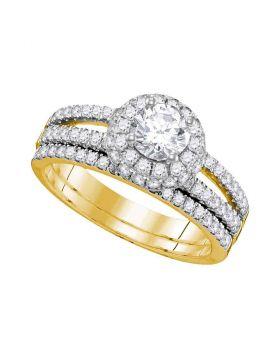 14kt Yellow Gold Womens Round Diamond Halo Bridal Wedding Engagement Ring Band Set 1-1/2 Cttw
