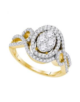 10kt Yellow Gold Womens Round Diamond Oval Halo Twist Cluster Bridal Wedding Engagement Ring 1.00 Cttw
