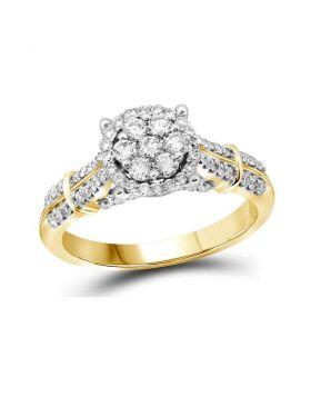 10kt Yellow Gold Womens Round Diamond Flower Cluster Bridal Wedding Engagement Ring 3/4 Cttw