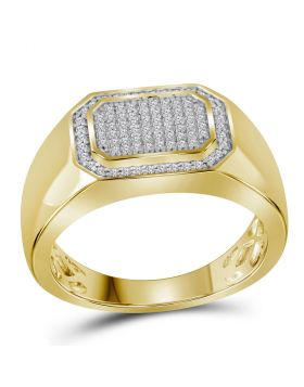 10kt Yellow Gold Unisex Round Diamond Octagon Cluster Ring 1/4 Cttw