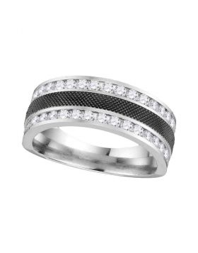 14kt White Gold Unisex Round Diamond Double Row Wedding Band 1.00 Cttw