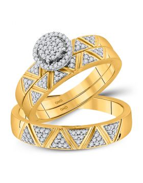 10kt Yellow Gold His Hers Round Diamond Cluster Matching Bridal Wedding Ring Band Set 1/3 Cttw