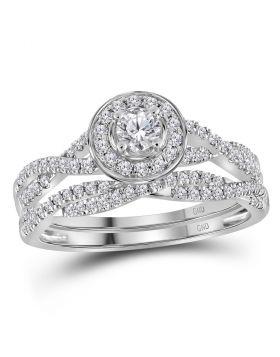 14kt White Gold Womens Round Diamond Twist Bridal Wedding Engagement Ring Band Set 1/2 Cttw