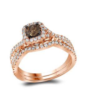 14kt Rose Gold Womens Round Brown Diamond Bridal Wedding Engagement Ring Band Set 1Cttw