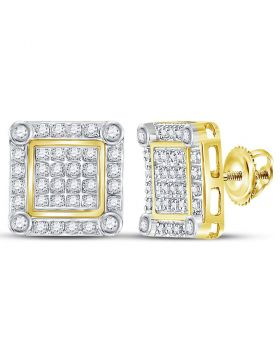 10kt Yellow Gold Unisex Round Diamond Square Cluster Stud Earrings 1/4 Cttw