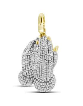 10kt Yellow Gold Unisex Round Diamond Praying Prayer Hands Charm Pendant 1-7/8 Cttw