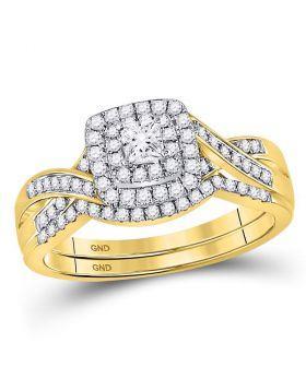 14kt Yellow Gold Womens Princess Diamond Bridal Wedding Engagement Ring Band Set 1/2 Cttw