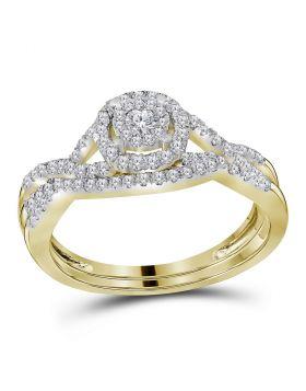 14kt Yellow Gold Womens Round Diamond Bridal Wedding Engagement Ring Band Set 1/2 Cttw