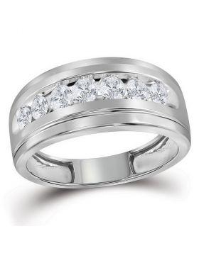 10kt White Gold Unisex Round Diamond Wedding Band Ring 1.00 Cttw