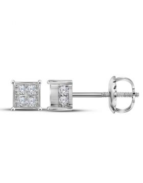 10kt White Gold Womens Round Diamond Square Cluster Screwback Earrings 1/3 Cttw