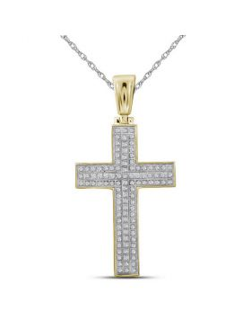 10kt Yellow Gold Unisex Round Diamond Cross Raised Charm Pendant 1/3 Cttw