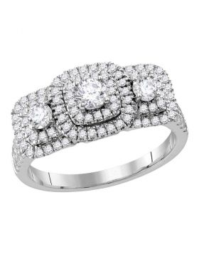 14kt White Gold Womens Round Diamond 3-stone Bridal Wedding Engagement Ring 1.00 Cttw