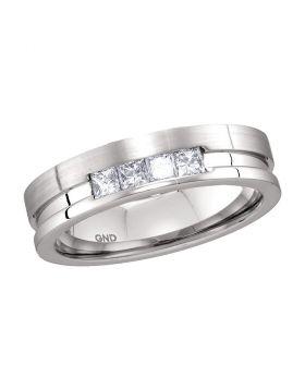 14kt White Gold Unisex Princess Channel-set Diamond Single Row Wedding Band 1/2 Cttw
