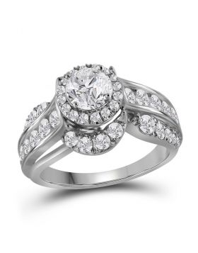 14kt White Gold Womens Round Diamond Solitaire Bridal Wedding Engagement Ring 2.00 Cttw