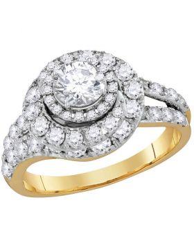 14k Yellow Gold Womens Certified Round Diamond Engagement Bridal Wedding Ring 2.00 Cttw