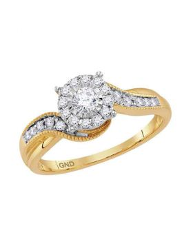14kt Yellow Gold Womens Round Diamond Cluster Bridal Wedding Engagement Ring 1/3 Cttw
