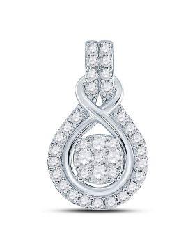 10kt White Gold Womens Round Diamond Cluster Pendant 1/2 Cttw