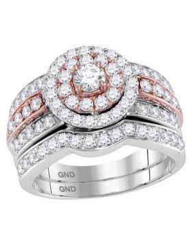 14kt Two-tone Gold Womens Round Diamond Bridal Wedding Engagement Ring Band Set 1-1/2 Cttw