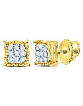 10kt Yellow Gold Unisex Round Diamond Square Milgrain Cluster Earrings 1/10 Cttw
