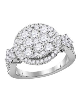 14kt White Gold Womens Round Diamond Cluster Bridal Wedding Engagement Ring 2.00 Cttw