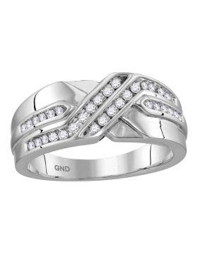 10kt White Gold Unisex Round Diamond Two Row Wedding Anniversary Band Ring 1/4 Cttw