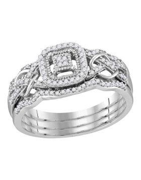 10kt White Gold Womens Round Diamond Cluster 3-Piece Bridal Wedding Engagement Ring Band Set 1/4 Cttw