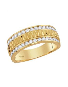 14kt Yellow Gold Unisex Round Channel-set Diamond Grecco Textured Double Row Wedding Band Ring 1.00 Cttw