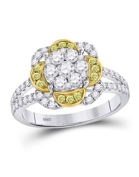 14kt White Gold Womens Round Yellow Diamond Flower Cluster Ring 1.00 Cttw