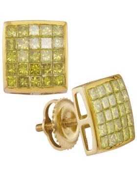 10kt Yellow Gold Unisex Princess Yellow Color Enhanced Diamond Square Cluster Earrings 1.00 Cttw