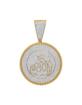 10kt Yellow Gold Unisex Round Diamond Allah Medallion Charm Pendant 2-1/4 Cttw