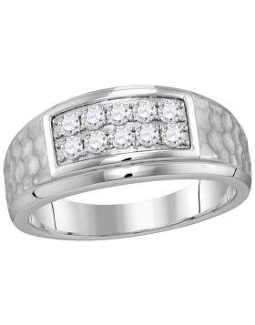 10kt White Gold Unisex Round Diamond 2-tone Hammered Wedding Band Ring 1/2 Cttw