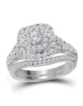 14kt White Gold Womens Round Diamond Bellissimo Double Halo Bridal Wedding Engagement Ring Band Set 1.00 Cttw