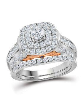 14kt White Gold Womens Round Diamond Bellissimo Halo Bridal Wedding Engagement Ring Set 2.00 Cttw