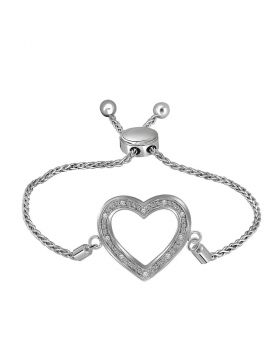 Sterling Silver Womens Round Diamond Heart Bolo Bracelet 1/20 Cttw
