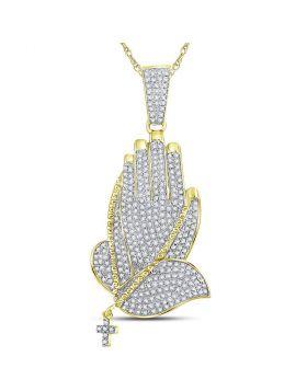 10kt Yellow Gold Unisex Round Diamond Praying Hands Rosary Charm Pendant 7/8 Cttw