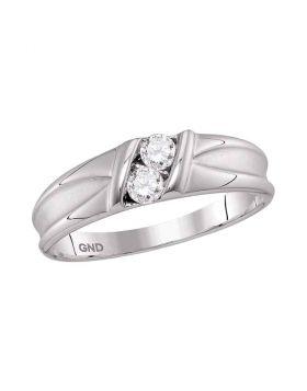 10kt White Gold Unisex Round Diamond 2-stone Channel-set Wedding Band 1/3 Cttw