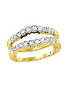 14kt Yellow Gold Womens Round Diamond Wrap Ring Guard Enhancer Wedding Band 1/2 Cttw