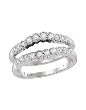 14kt White Gold Womens Round Diamond Ring Guard Wrap Solitaire Enhancer Wedding Band 1/2 Cttw