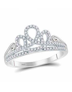 10kt White Gold Womens Round Diamond Crown Tiara Fashion Ring 1/5 Cttw