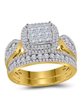 14kt Yellow Gold Womens Princess Diamond Bridal Wedding Engagement Ring Band Set 1-1/2 Cttw