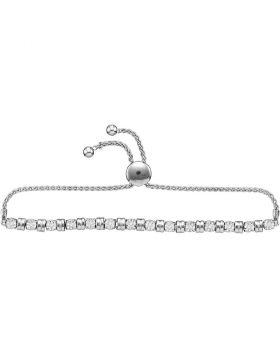 10kt White Gold Womens Round Diamond Studded Bolo Bracelet 1/4 Cttw