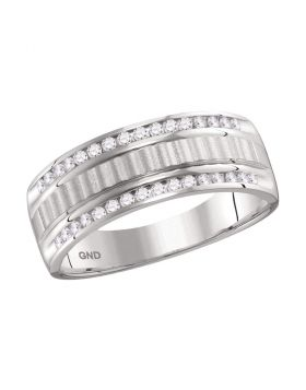 14kt White Gold Unisex Round Channel-set Diamond Textured Wedding Band Ring 1/3 Cttw