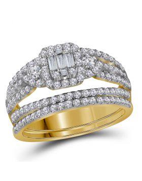 14kt Yellow Gold Womens Baguette Diamond Bridal Wedding Engagement Ring Band Set 1.00 Cttw