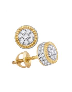 10kt Yellow Gold Unisex Round Diamond Fluted Flower Cluster Stud Earrings 1/2 Cttw