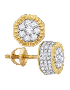 10kt Yellow Gold Unisex Round Diamond Fluted Hexagon Cluster Stud Earrings 1/2 Cttw
