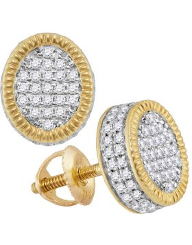 10kt Yellow Gold Unisex Round Diamond Fluted Oval Cluster Stud Earrings 7/8 Cttw