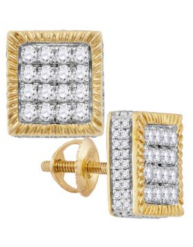10kt Yellow Gold Unisex Round Diamond Square 3D Cluster Stud Earrings 1.00 Cttw